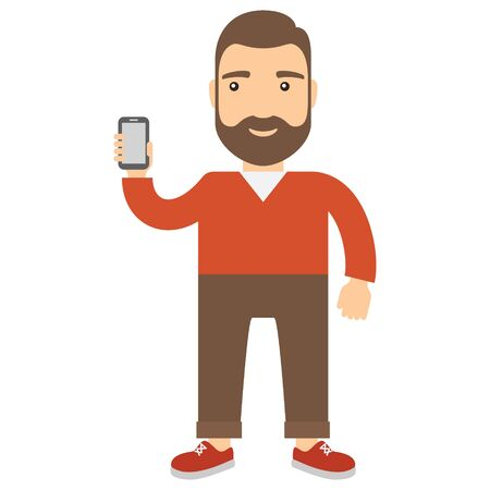 Man holds a cell phone. Concept flat cartoon icon. Illustration