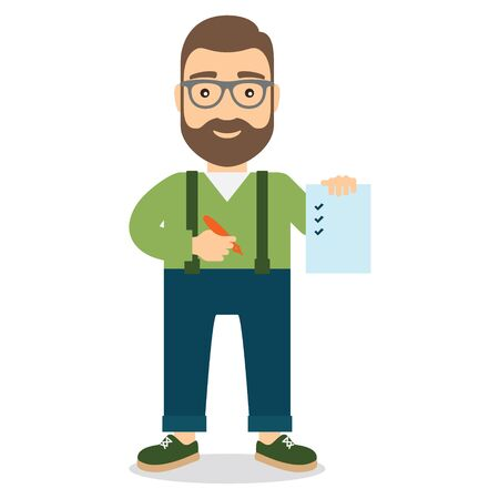 Man holds sheet of paper with list and pen in hand. Flat style illustration.