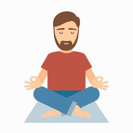 Man meditating on rug. illustration isolated on white background.