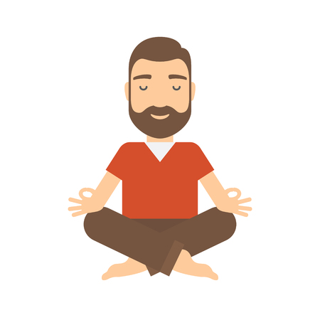 Man meditating. Concept flat cartoon icon.