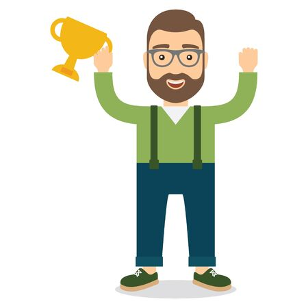 Man with cup. Flat style vector illustration. Concept of success and luck.