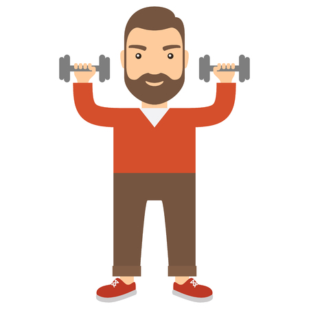 Man with dumbbells. Concept flat cartoon icon.