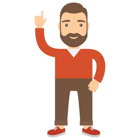 Man with his hand raised pointing at the top. Cartoon flat icon of man.