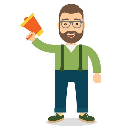 Man with megaphone. Concept flat style illustration.