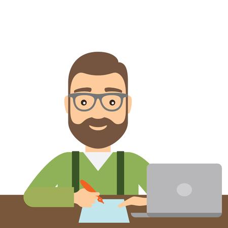 ペンを持つ男は、紙に書き込みます。ノート パソコンはテーブルの上です。コンセプト フラット スタイルのイラスト。