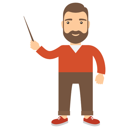 Man with pointer in his hand. Flat cartoon icon. Illustration