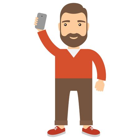 Man with smartphone makes selfie. Concept lifestyle flat cartoon icon.