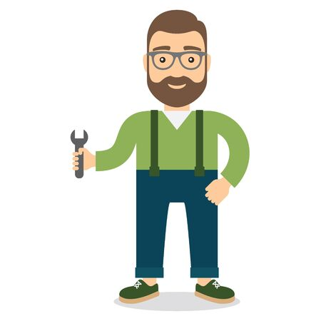 Man with wrench. Flat style illustration.