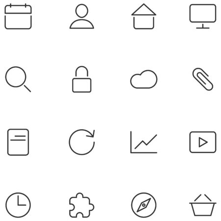 Set flat icons in a minimalist style. Illustration