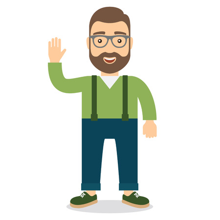 Smiling happy man waving. Flat style illustration.