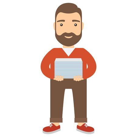 working in office: Young man office worker holding a large stack of paper. Concept flat cartoon icon.