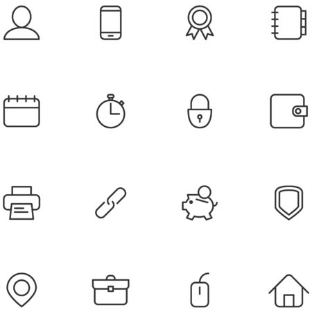Concept vector icons material design style. Set line icons for web, social media, navigation, mobile app, print etc. Illustration