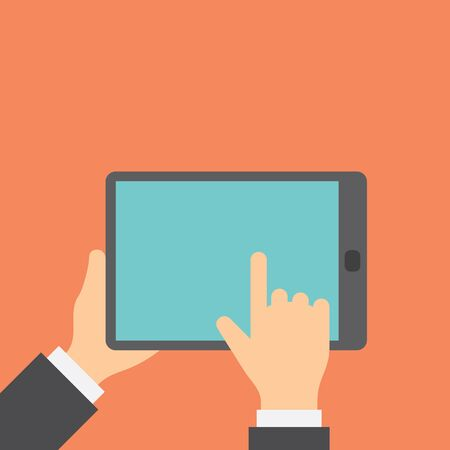 internet buttons: Finger clicks on tablet display with touch screen. Concept flat style vector illustration.