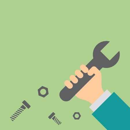 Hand holding wrench. Repair and service concept. Flat simple style. Illustration