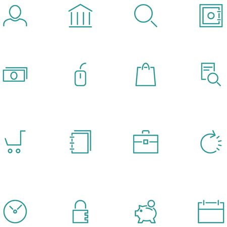 Set vector icons material design style. Thin line icons for web, social media, navigation, mobile app, print etc.