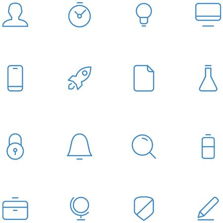 Vector icons material design style. Set thin line icons for web, social media, navigation, mobile app, print etc. Illustration