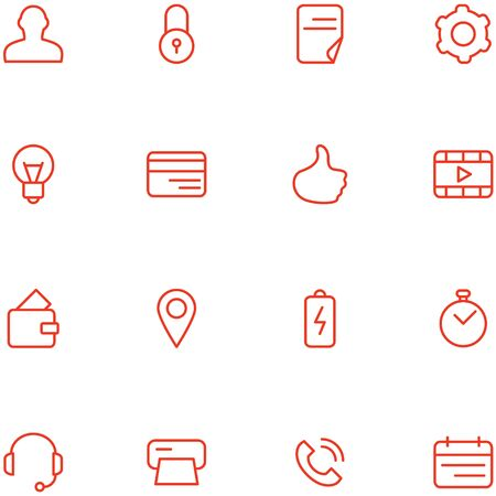 Vector icons set material design style. Concept flat style thin line icons for web, social media, navigation, mobile app, print etc. Illustration