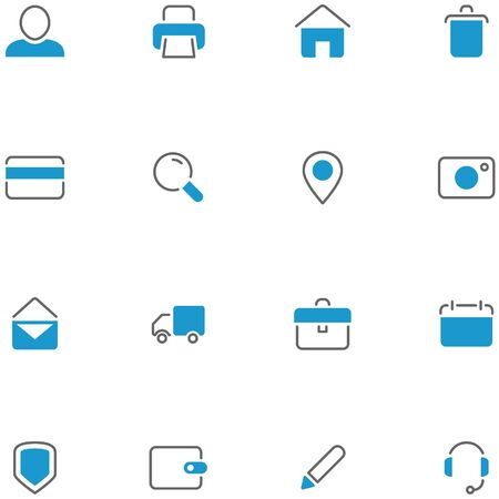 line material: Vector icons set material design. Thin line icons and buttons for web, social media, navigation, mobile app, print etc.