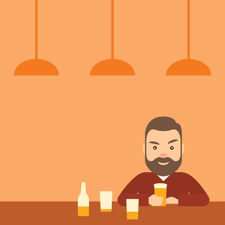Drunk young man drinking beer in a bar. ?oncept of drinking, and alcoholism. Illustration