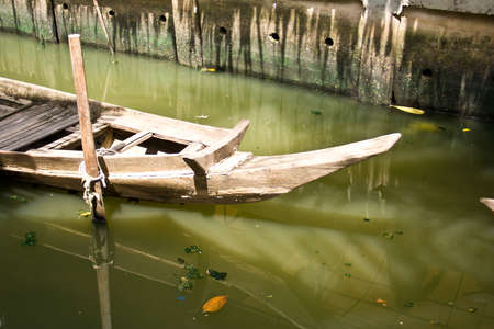 Wooden rowing boats on the canal  photo