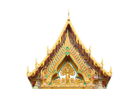 gabled: The beauty of Thai temple architecture, Chris Bowen on white gabled roof  Stock Photo