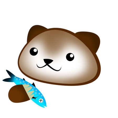 brown bear holding Salmon cartoon isolated. photo