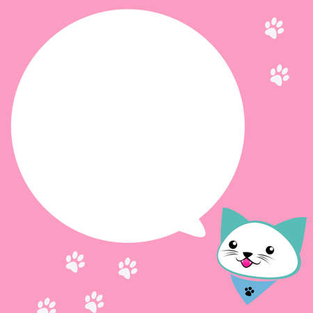 expressing positivity: cat cartoon speak with bubble box, pink background.  Stock Photo