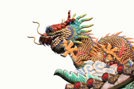 Chinese dragon decorate on temple roof isolated. photo