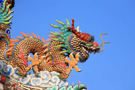 Chinese dragon decorate on temple roof with blue sky.  photo