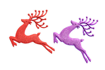 jumping Reindeer for Christmas decorate, isolated white.  photo