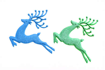 elk horn: jumping Reindeer for Christmas decorate, isolated white.  Stock Photo