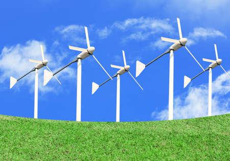 wind turbine on grass-hill background.  photo