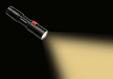 cree: beam of a flashlight isolated dark bg.