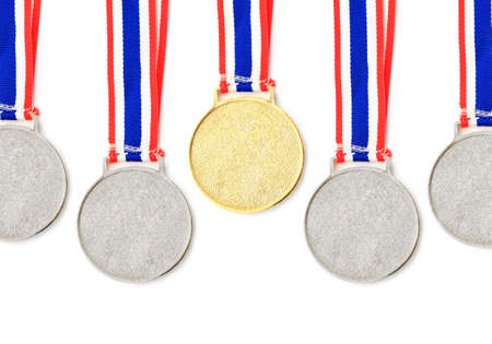 gold, silver, bronze Medal & Ribbon for 1-2-3 place isolated  photo