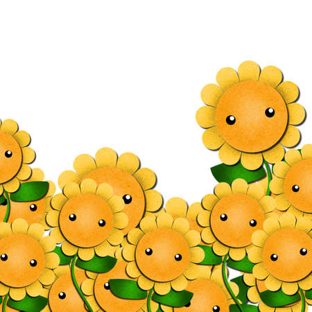 sunflowers cartoon in field-outdoor background. create from recycled paper craft. Stock Photo - 11385590