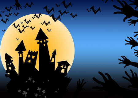 haunt: Halloween night at haunted castle.  Stock Photo