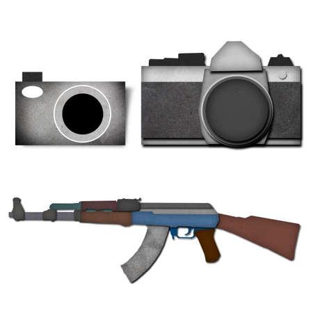 Classic Camera And Classic Machine Gun Paper Craft Art Stock Photo