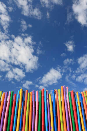 cpl: colorful wooden wall and blue sky. Stock Photo