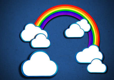 rainbow and clouds-bubble talk background vintage style, create from paper craft  photo