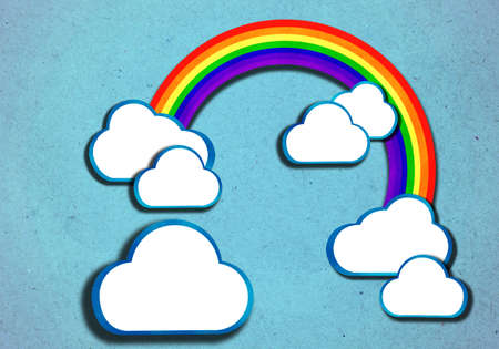 rainbow over blue sky and clouds, create from paper craft.  photo