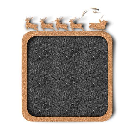 Christmas, Santa, reindeer frame-board with cork craft texture  photo