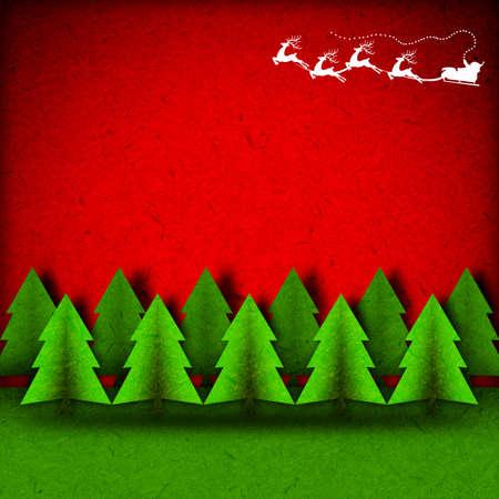 papa noel en trineo: De fondo de Navidad con el arte de papel artesanal.