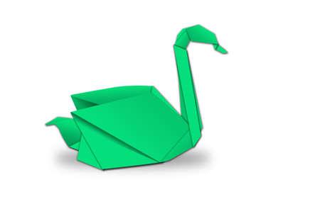 Swans Origami isolated. photo