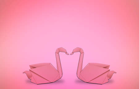 swan origami in romantic pink background.  photo