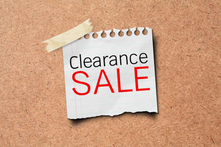 cork sheet: clearance sale tag paper on wooden board