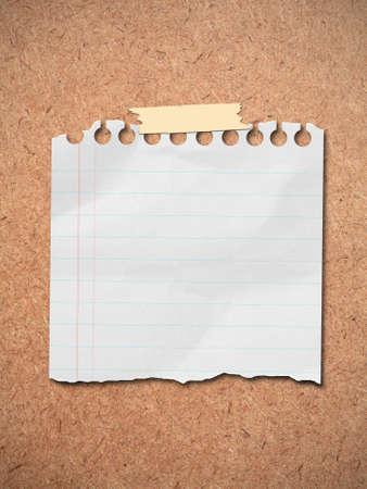 cork sheet: note paper post on wooden board