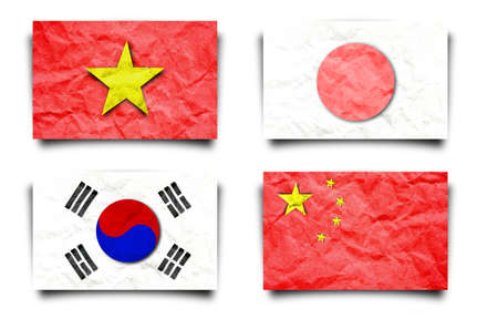 Asia flag set, paper craft isolated white   photo