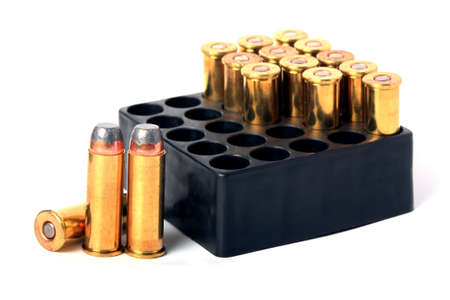 full metal jacket:  44 Magnum ammo in box  isolated
