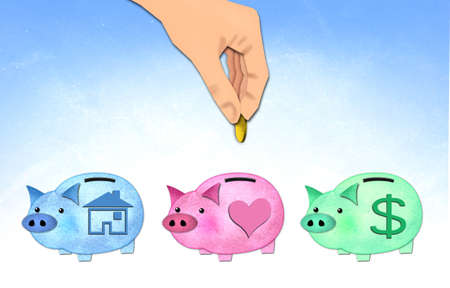 hand putting coin to healthy piggy bank  photo