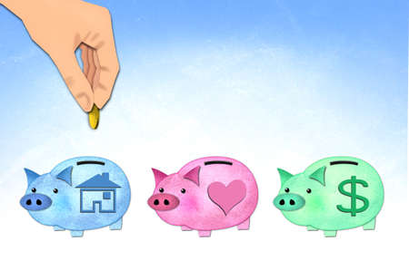save money to home piggy, paper craft   photo